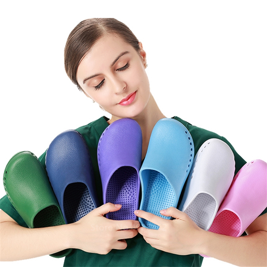 Medical Shoes Solid Hospital Nurse Doctor Operating Surgical Scrub Slippers Breathable Adjustable Non-slip Clogs Accessories