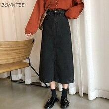 חצאיות נשים ינס אונליין פשוט קוריאני סגנון כפתור כיס Harajuku גבוה מותן רך נשים עגל אורך חצאית Streetwear שיק