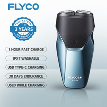 FLYCO Electric Razor For Men Intelligent Wet Dry Beard Shaving Trimmer IPX7 Washable Men #8217 s Shaver 3D TYPE C USB Fast Recharged cheap Rechargeable Electric Both Work Male CN(Origin) Twin Blade ABS Plating Electric Shaver 60Mins Whole body washing 2020 Global Universal(100-240V)