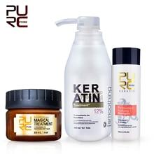 PURC Brazilian keratin 12% formalin 300ml keratin treatment set & magical hair mask repair damage hair make hair smooth & shine