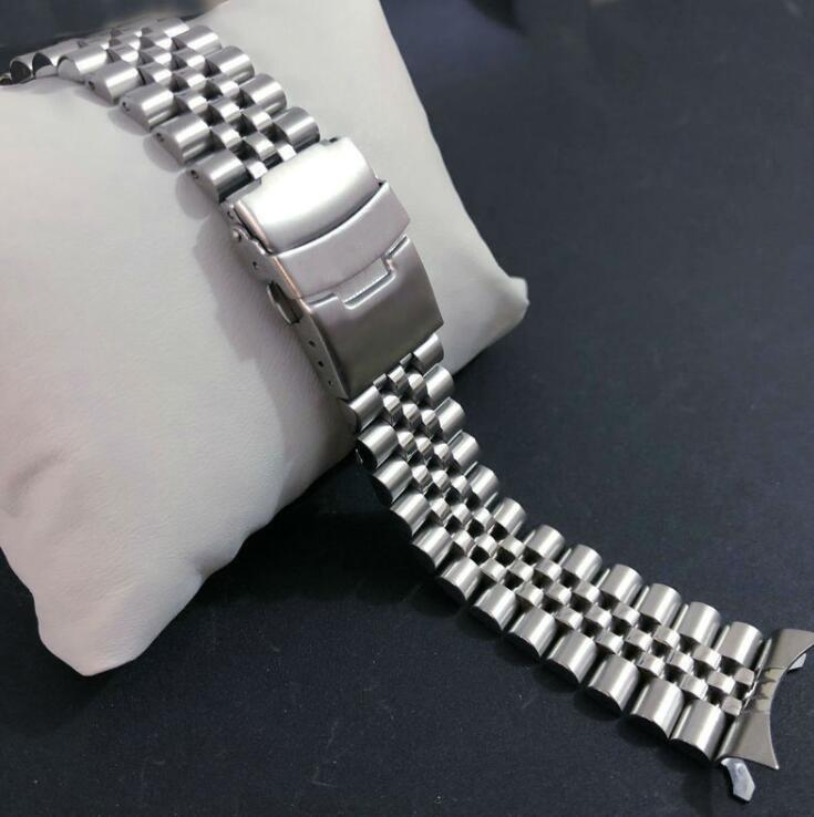 <font><b>20mm</b></font> 22mm Curved Stainless Steel Watch Band Strap Silver Polished Mens Luxury Replacement Metal <font><b>Watchband</b></font> Bracelet for <font><b>seiko</b></font> image