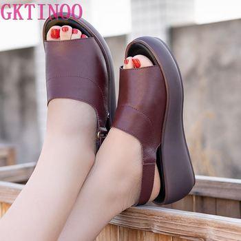 цена GKTINOO Women's Sandals Genuine Leather Platform Sandal 2020 Summer Thick Sole High Heels Ladies Sandal Summer Shoes For Women онлайн в 2017 году