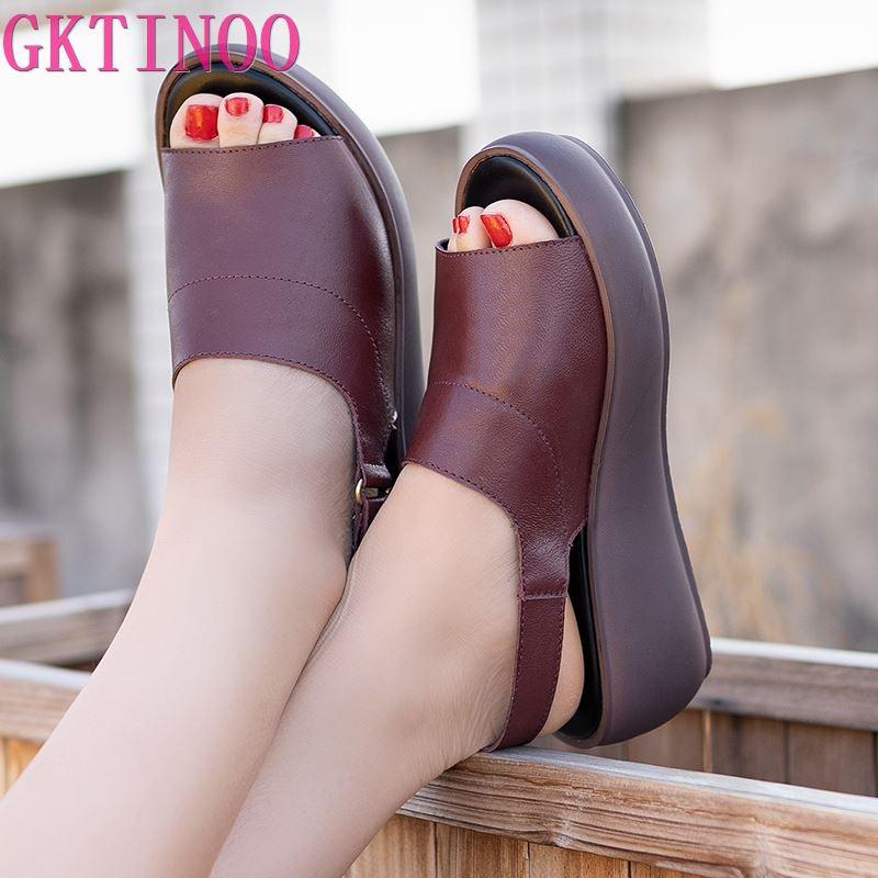 GKTINOO femmes sandales en cuir véritable plate-forme sandale 2020 été semelle épaisse talons hauts dames sandale chaussures d'été pour les femmes