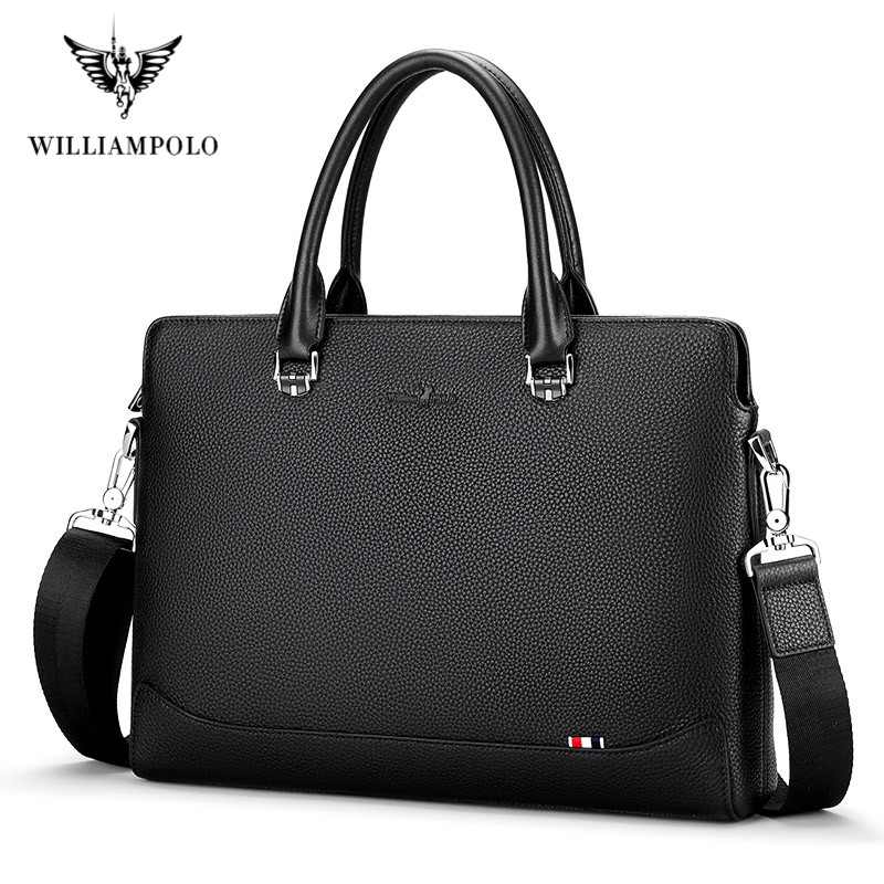WilliamPolo New Men's Leather Business Briefcase Casual Men's Shoulder Bag Messenger Bag Men's Laptop Handbag Men's Travel Bag