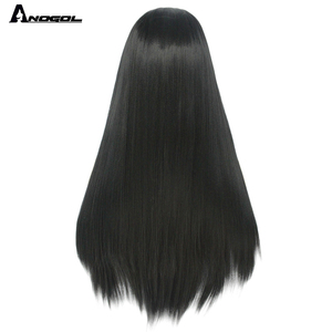 Image 5 - ANOGOL Long Straight Black Wig Synthetic Wig for Women Natural Middle Part Lace Wig Heat Resistant Fiber Wig for Women Daily Use
