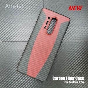 Image 1 - Amstar المزدوج اللون حقيقية ألياف الكربون واقية الحال بالنسبة OnePlus 8 برو جديد رقيقة جدا مكافحة سقوط حقيقي ألياف الكربون غطاء حالات