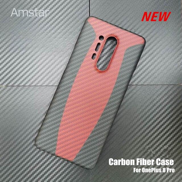 Amstar المزدوج اللون حقيقية ألياف الكربون واقية الحال بالنسبة OnePlus 8 برو جديد رقيقة جدا مكافحة سقوط حقيقي ألياف الكربون غطاء حالات