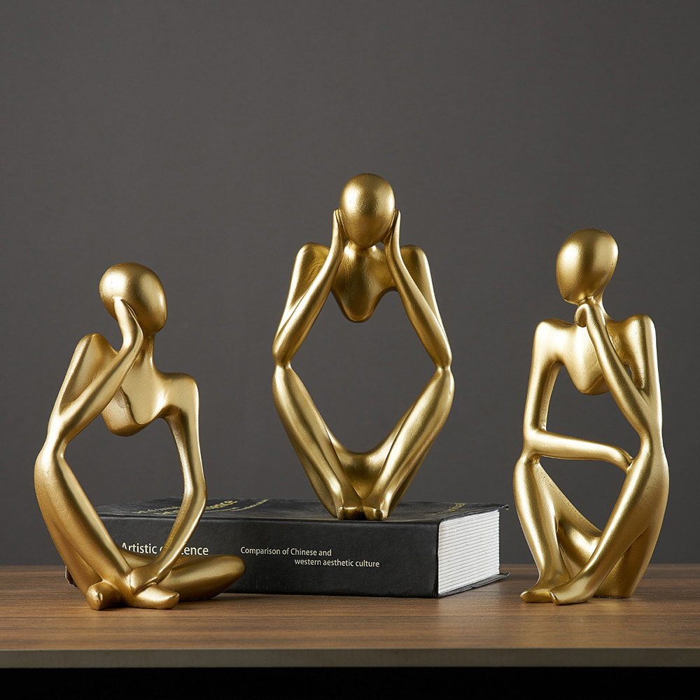 resin home decoration office decor accessories for living room study figures funiture salon Abstract ornaments thinker statue