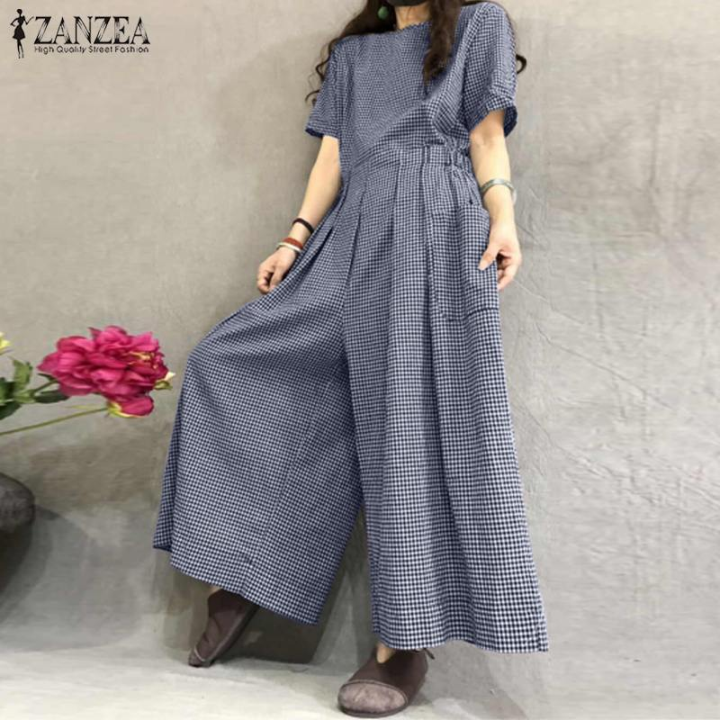 ZANZEA Women Summer Wide Leg Jumpsuits Vintage Plaid Rompers Short Sleeve Overalls Casual Back Zip Playsuits Plus Size Trousers