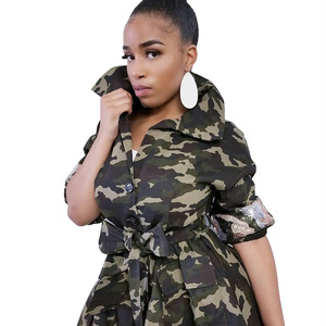 Image 3 - Autumn and Winter Women Jacket Camo Printing Women Clothes with Pearl Lapel Decor Thin Waist Multi bag Mid long Coat for Women