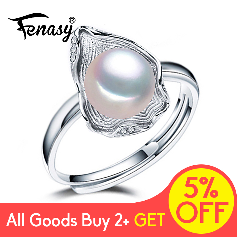 FENASY Freshwater Pearl Rings Boho Shell Shape 925 Sterling Silver Vintage Ring For Women Wave Jewelry Innrech Market.com