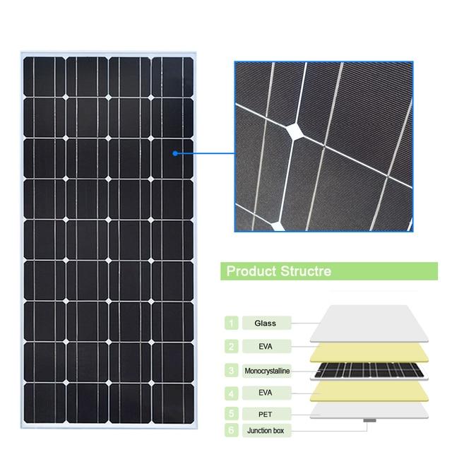 XINPUGUANG 200w solar kit system plate 2 pcs 100 watt 18v Glass solar panel modul mit pv stecker für dach auto caravan home 4