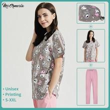 Unisex Beauty Salon Pet Shop Uniforms Fashion Scrub Clothes Cotton Cartoon Print Spa Uniforms Women Scrubs Lab Coat Slim Fit Top
