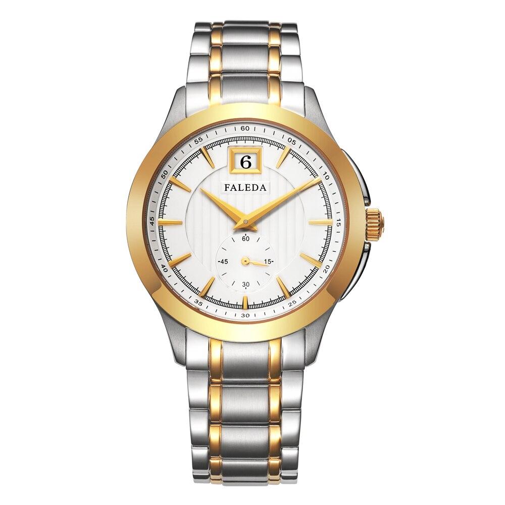 Faleda calendário de negócios quartzo relógio masculino à prova dwaterproof água safira vidro aço inoxidável caso esporte relógio pulso homem relogio masculino - 3