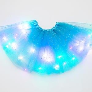 Tutu-Skirt Sequin Dancewear Magic-Light Tulle Glitter-Ballet Stars Party Girls Fluffy
