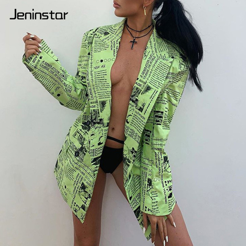Jeninstar Printed Single Breasted Autumn Sexy Blazer Top Long Sleeve Notched Women Coat 2019 Casual Loose Party Tops Women