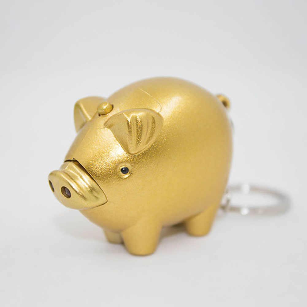 2019 bonito luzes led som pequeno porco de ouro chaveiro dos desenhos animados casal porco chaveiro corda de pulso chaveiro saco charme pingente presente