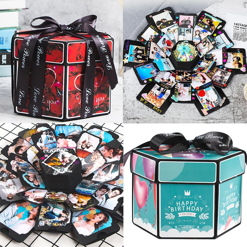 Hexagon Surprise Explosion Box Love Memory DIY Scrapbook Photo Album Birthday Wedding Gift Box Valentine's Day Girl Love Gift