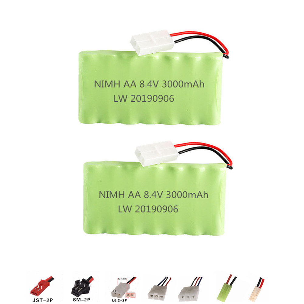 8.4v 3000mAh Rechargeable Battery For Rc toys Cars Gun Train parts AA NiMH Battery 8.4v 2400mah Battery Pack For Rc Boat 2PCS image