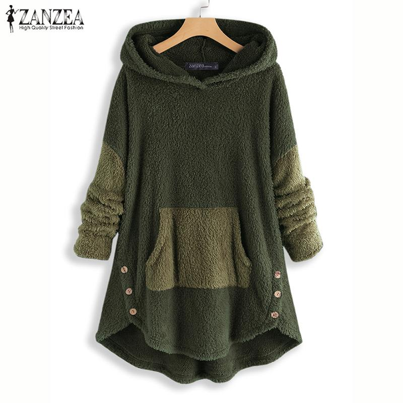 ZANZEA Women Hoodies Sweatshirt Winter Long Sleeve Plush Fluffy Jumper Pull Femme Autumn Hooded Fleece Pullover Blusas Plus Size