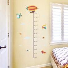 2019 venta al por mayor decoración del hogar papel pintado Animal marino avión extraíble niños altura regla pared pegatina para sala de juegos para niños