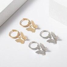 Moda mariposa aretes para las mujeres color dorado/plateado gancho aros colgantes vintage insecto pendiente huggie joyas de mariposa