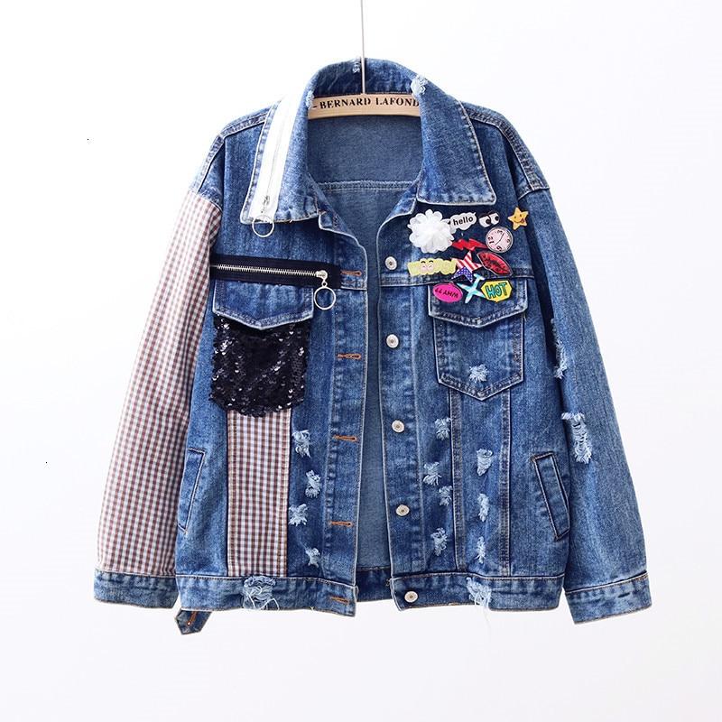 Printemps 2019 et automne nouveau plaid couture trou sequin décoration denim veste