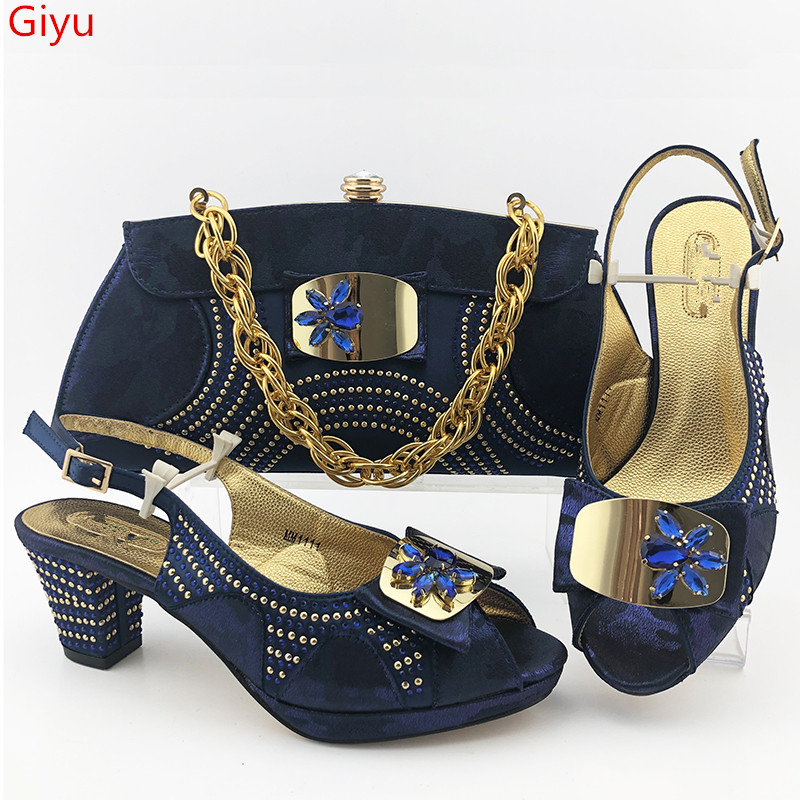 doershow fashion lady Shoes and Bag Set Italy BLUE Color Italian Shoes with Matching Bag Set Decorated with Rhineston!HAS1-33