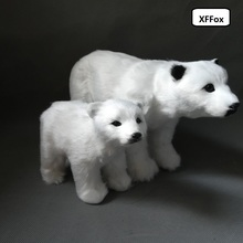 a pair of simulation white polar bear models polyethylene&furs dolls gift about 20cm, 30cm xf1937