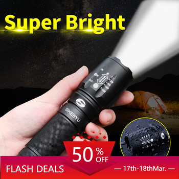 LIGHTBEK LED Flashlight 18650 26650 Torch Waterproof Flashlight Cree XML t6 1000 lumen Zoomable Light ndtusmz 6000 lumen cree xm xml t6 led koplamp zaklamp hoofd lamp light not include 2 18650 oplader and auto charger