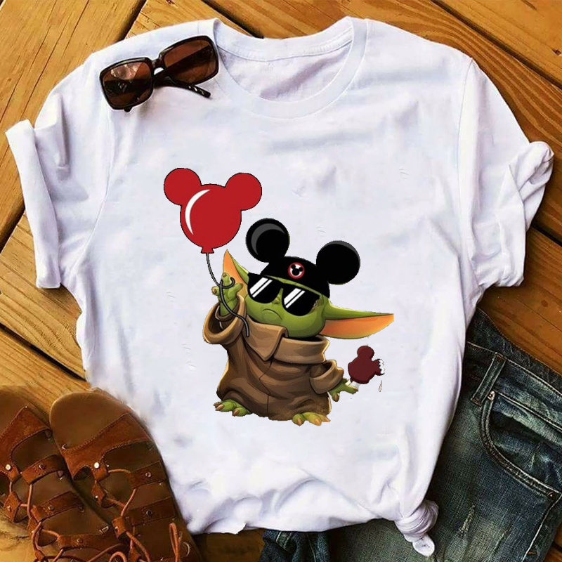 Women 2020 Cartoon Ear Funny Baby Yoda Star Wars 90s Print Tops Clothes  Graphic Tshirts Shirt Tee Top T Female Womens T-Shirt