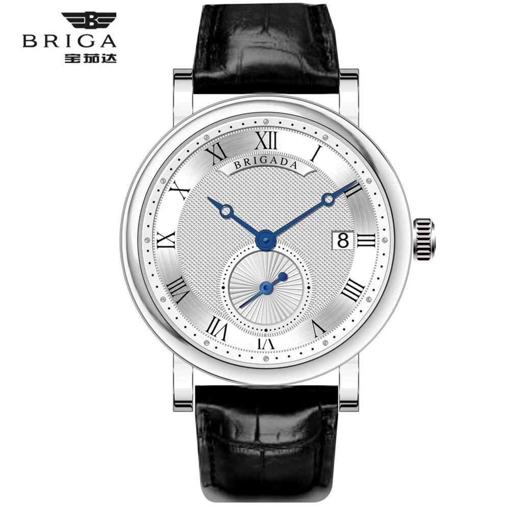 ด้านบนยี่ห้อ BRIGADA Classic Design วันที่หนังผู้ชายนาฬิกาควอตซ์ธุรกิจแฟชั่นกันน้ำนาฬิกาผู้ชาย relogio masculino-ใน นาฬิกาควอตซ์ จาก นาฬิกาข้อมือ บน   1