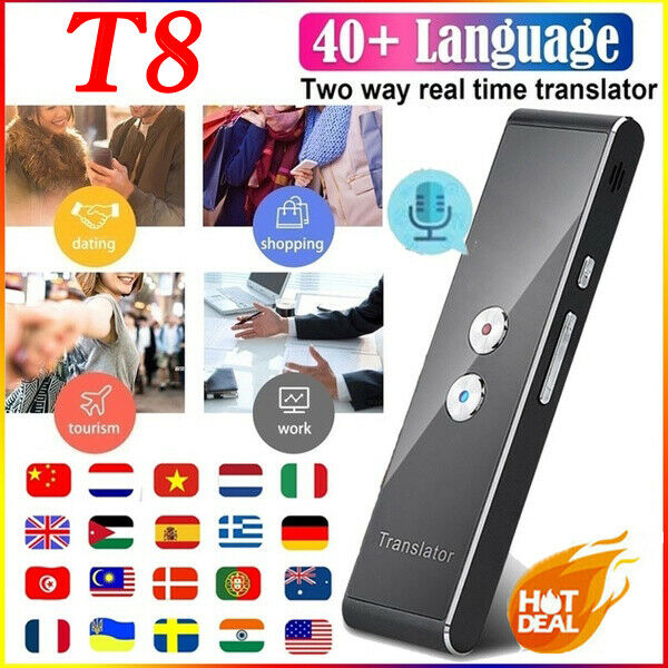 Portable T8 Smart Voice Speech Translator Two-Way Real Time 40 Multi-Language Translation For Learning Travelling Business Meet image