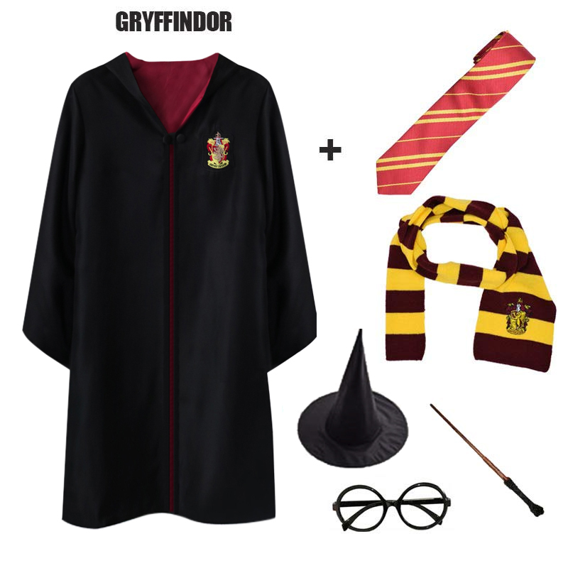 Gryffindor Potter Magic Cloak Robe Cape Tie Scarf Wand Glasses Cosplay Potter Costume Slytherin Cosplay Costumes Gifts Halloween