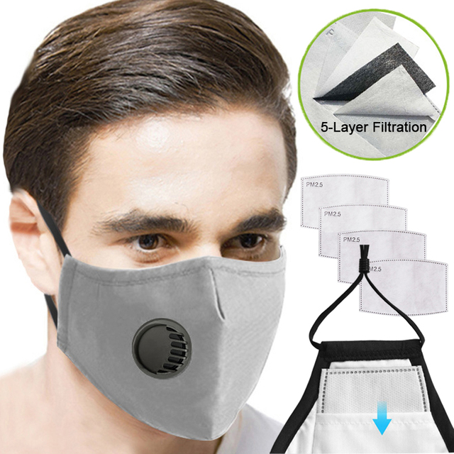 Adult Kids Dustproof Mouth Face Mask PM2.5 filter Anti Haze Mask Windproof Breathable Valved Dust Mask Respirator Washable Reusa