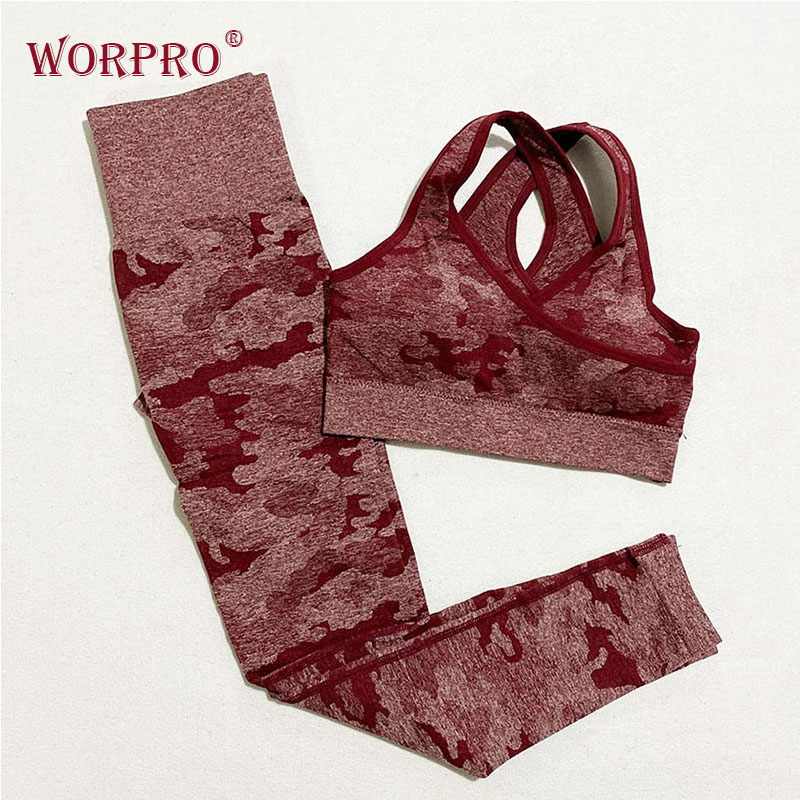 Women Camo Yoga Set Sports Workout Leggings Gym Set Fitness Clothing Leggings And Top For Fitness Women's Sports Suits Gym Wear