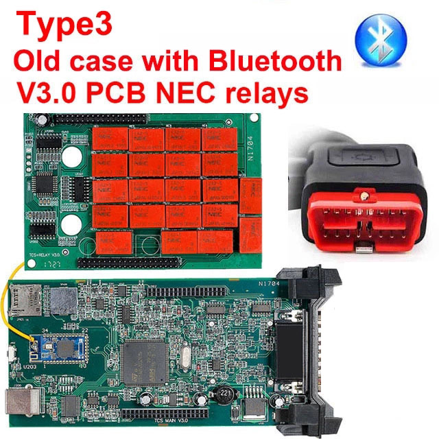 CDP TCS multidiag pro+ Bluetooth USB,00 keygen V3.0 реле NEC obd2 сканер автомобилей грузовиков OBDII диагностический инструмент - Цвет: Type3 old case BT