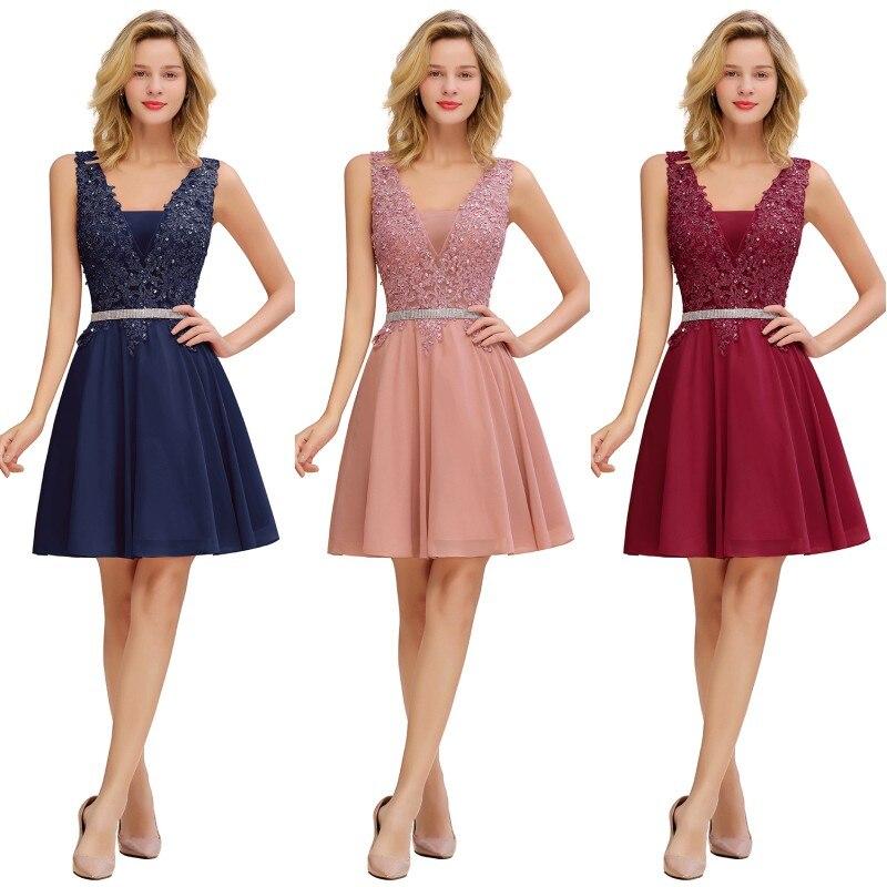Pink Burgundy Bridesmaid Dresses Short Elegant Bead Sleeveless Wedding Guest Party Gown V Neck Chiffon robe demoiselle d'honneur
