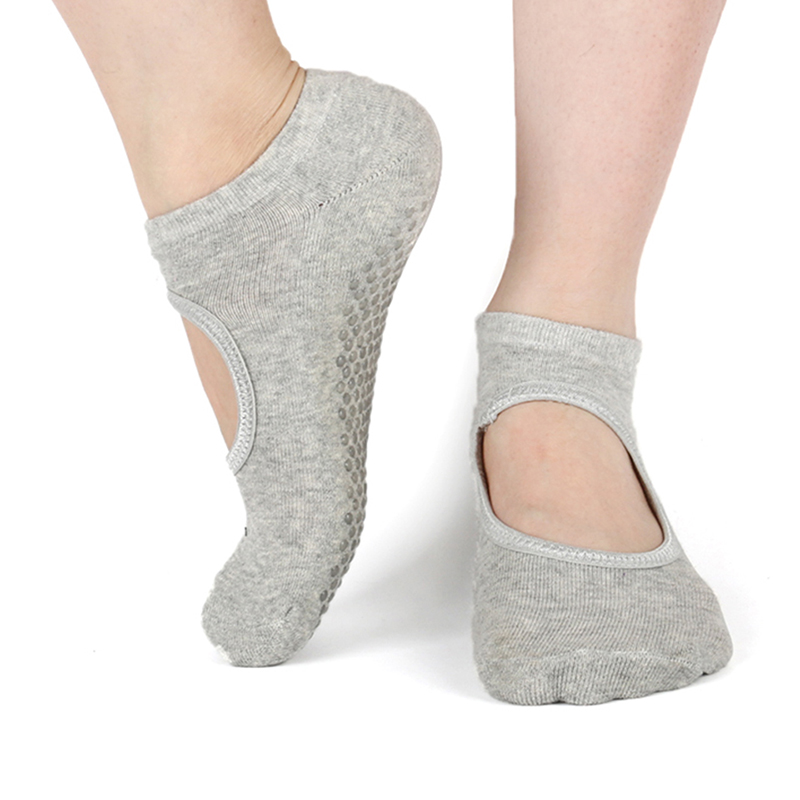 Silicone Non-Slip Yoga Socks For Woman Pilates Barre Dance Slippers Ballet Breathable Ladies Sport Foot Scoken Backless Sock