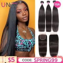 UNice Hair Lace With Closure 8 30 말레이시아 스트레이트 헤어 3 묶음 Remy Human Hair Extension Bundles