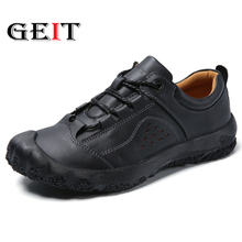 купить 2019 New Genuine Leather Hiking Shoes Men Travel Shoes Outdoor Non-Slip Sneakers Man Lace Up Trekking Casual Shoes Big Size 48 дешево