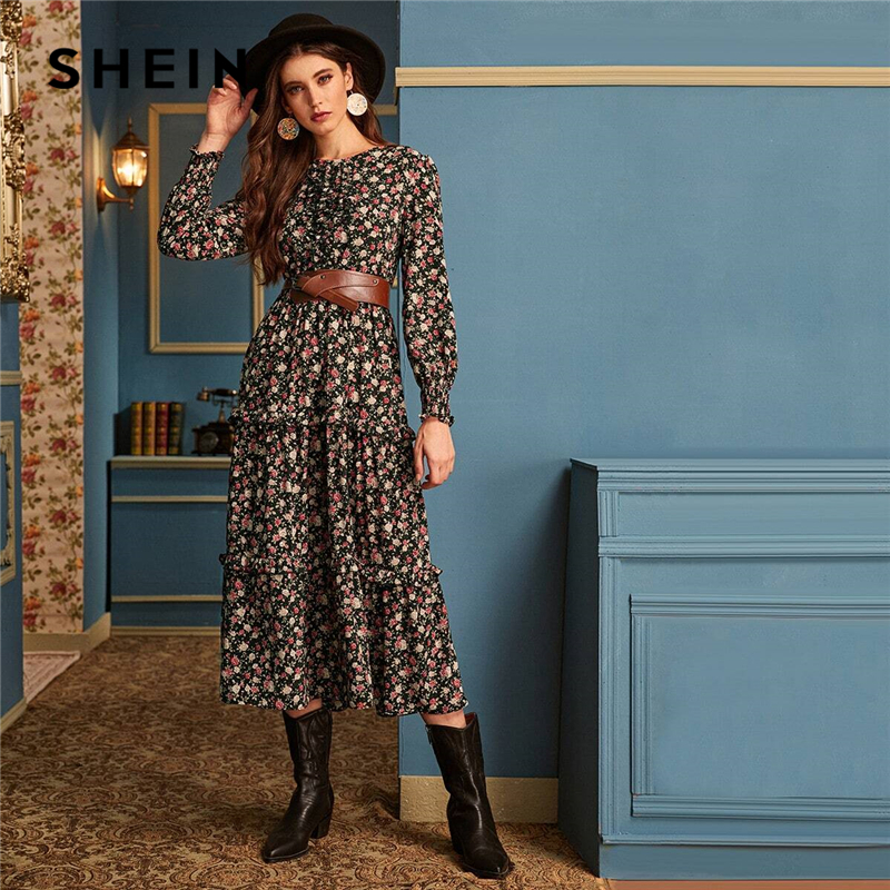SHEIN Ditsy Floral Print Frill Trim Flared Dress Without Belt Women Autumn Long Sleeve High Waist Ladies Elegant Long Dresses 1