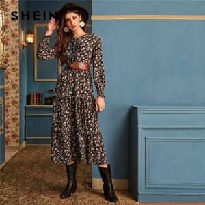 Image 1 - SHEIN Ditsy Floral Print Frill Trim Flared Dress Without Belt Women Autumn Long Sleeve High Waist Ladies Elegant Long Dresses