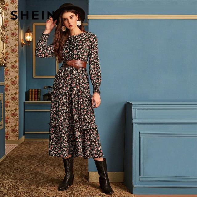 SHEIN Ditsy Floral Print Frill Trim Flared Dress Without Belt Women Autumn Long Sleeve High Waist Ladies Elegant Long Dresses