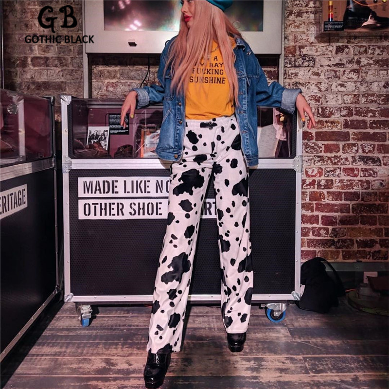 Gothblack Casual Elastic High Waist Dairy Cow Printing Women's Pants Straight Loose Fashion Sweatpants Pantalon Femme Pants