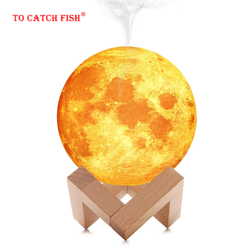 Moon incense burner Air Humidifier 3D Moon Lamp light Diffuser Aroma Essential Oil USB Humidificador Night Cool Mist Purifie image