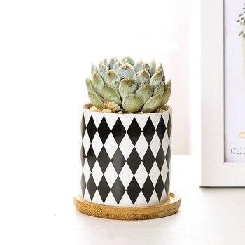 Керамические с черными и белыми цветами горшок бонсай маленькие горшки для цветов суккулентная Плантатор сад оформление балкона цветочный...