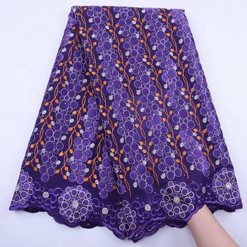 Embroidered Purple Lace Fabric 2020 High Quality Lace Nigerian Lace Fabric For Women Dress African Lace Fabric With Stones S1820
