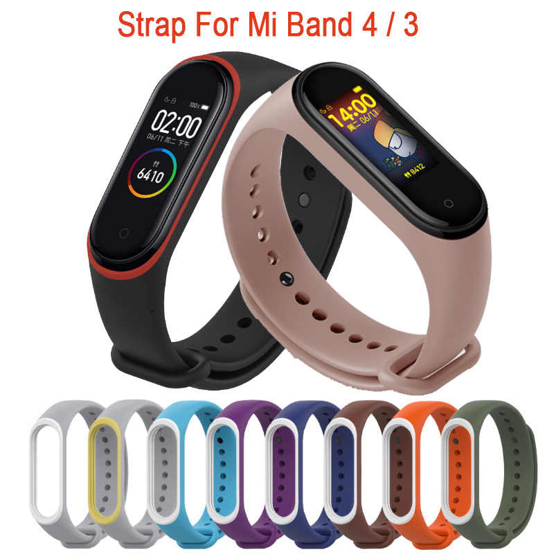 For Xiaomi Mi Band 4 Strap Silicone Wrist Strap For Xiaomi Mi Band 4 Accessories Bracelet Replacement Dual Color Straps