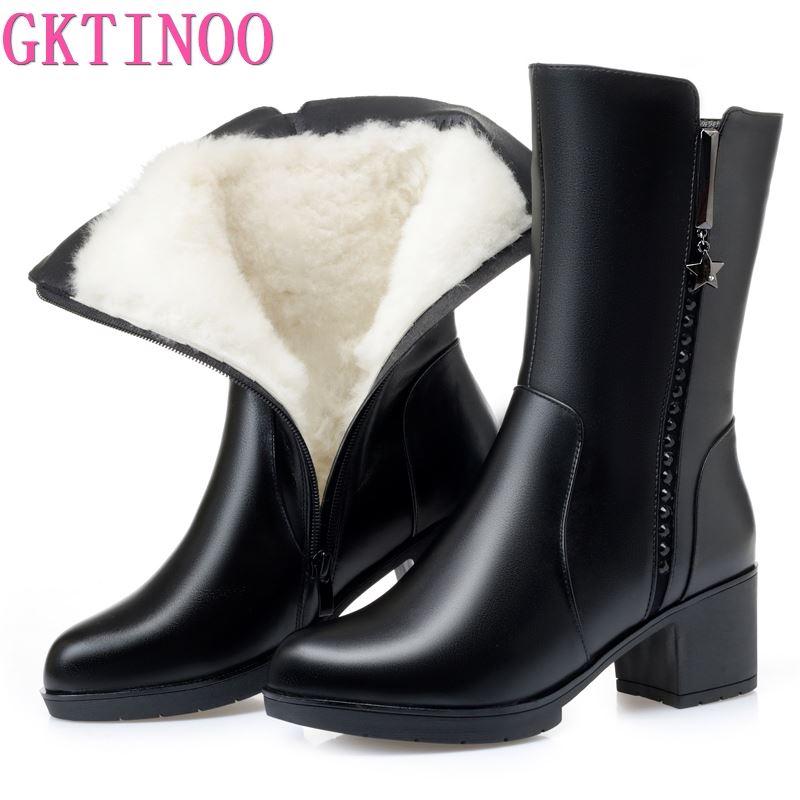 GKTINOO 2021 New Women Winter Boots Long Genuine Leather Beaded Boots Women High-heeled Fashion Wool Snow Boots women